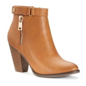 Women's Zipper Ankle Boots in Cognac - Size 8